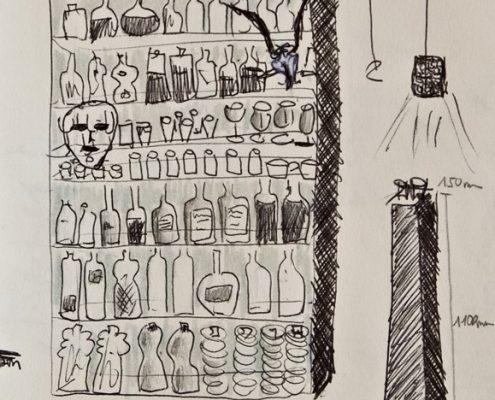 Antipoden, Science Fiction, Zeichnung, Wandregal © Sigrid Wurzinger