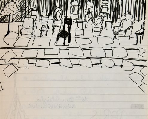 Maulwurf, Skizze Publikumsraum, alte Stühle, © Sigrid Wurzinger