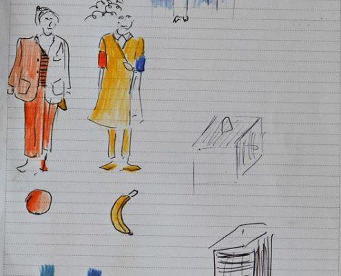 Sag mal..., Skizze Kostüme, Requisiten, Farben, © Sigrid Wurzinger
