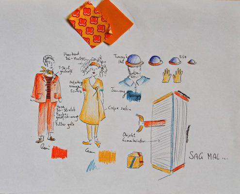 Sag mal..., Skizze, Kostüme, Farben, © Sigrid Wurzinger