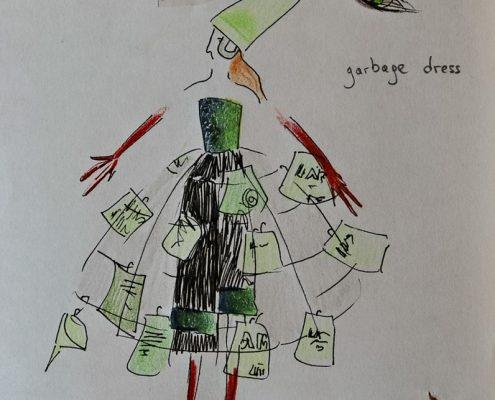Schräge Vögel, Entwurf Müllrock, Reifrock, © Sigrid Wurzinger