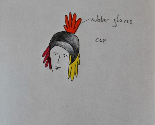 Schräge Vögel, Entwurf Kopfbedeckung, Gummihandschuhe, © Sigrid Wurzinger