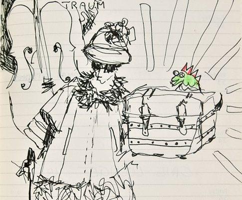 Träume Träume!, Skizze, alte Dame, © Sigrid Wurzinger